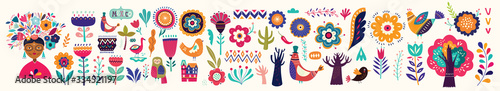 Fototapeta Beautiful colorful cartoon floral collection with leaves, flowers, tree and birds. Mexican ethnic pattern  obraz