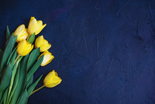 Fresh Beautiful Yellow Tulips On Blue Textured Background.