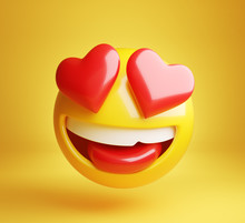 Falling In Love Emoji Isolated On A Yellow Background. Clipping Path Included.