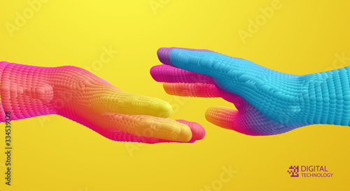 Fotomural Hands reaching towards each other