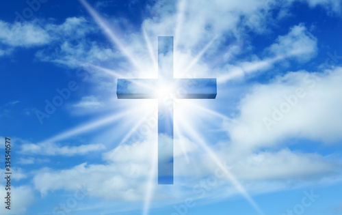 Fotografie, Obraz Silhouette of cross against blue sky. Christian religion