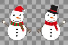 Two Snowmen In A Hat Of Santa ...