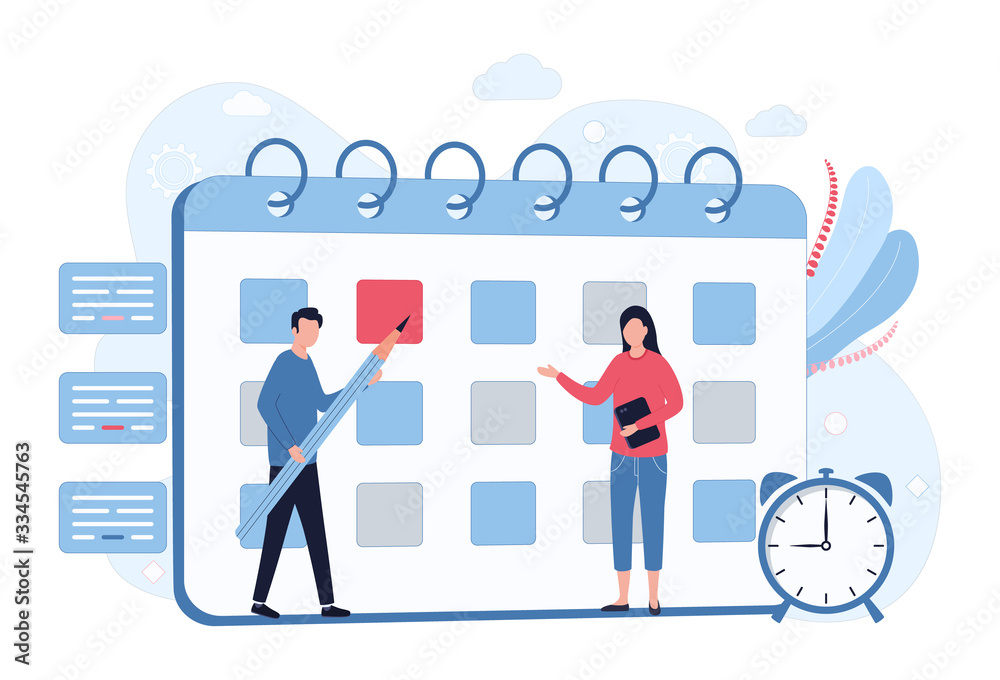 Fototapeta Business Planning Concept. Scheduling, time management, setting priority tasks. A man with a pencil makes notes on the calendar, a woman with a tablet. Flat vector illustration isolated on white back
