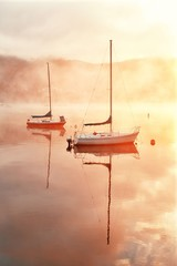 Obraz na Szkle Rzeki i Jeziora Morning foggy lake boat sunrise