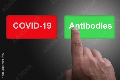Photo COVID-19 Virus Vaccine discovery or antibodies research success concept, Red and