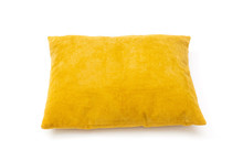 Yellow Cushion Close Up On Whi...