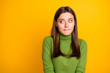Portrait Of Scared Frightened Girl Made Mistake Look Copyspace Bite Lisp Wear Stylish Clothing Isolated Over Bright Color Background