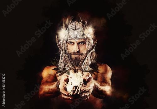 Tela beautiful shamanic man with headband and deer skull.