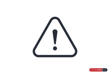 Alert Sign, Warning And Exclamation Icon With Triangle Rounded Line Border Outside. Flat Vector Icon Design Template Element.