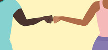 Fist Bump Greeting Concept Vec...