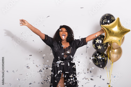 Carta da parati Party, holidays and birthday concept - Celebrating happiness, young woman dancin