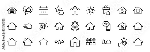 Fototapeta Simple set of line vector home icons. Contains house symbols at interest, infuse house and more. Editable stroke. 480x480 pixels perfect obraz