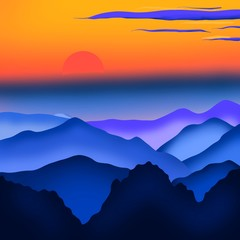 Panel Szklany Popularne Sunset or sunrise in the mountains