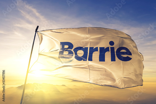 Barrie of Ontario of Canada flag waving on the top sunrise mist fog Wallpaper Mural