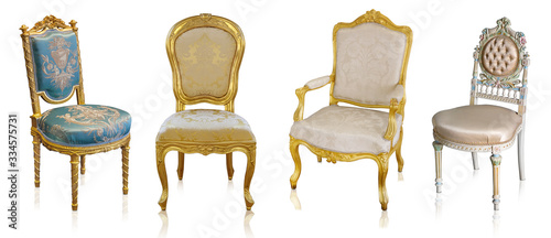 Valokuva Set of golden armchairs isolated on white background