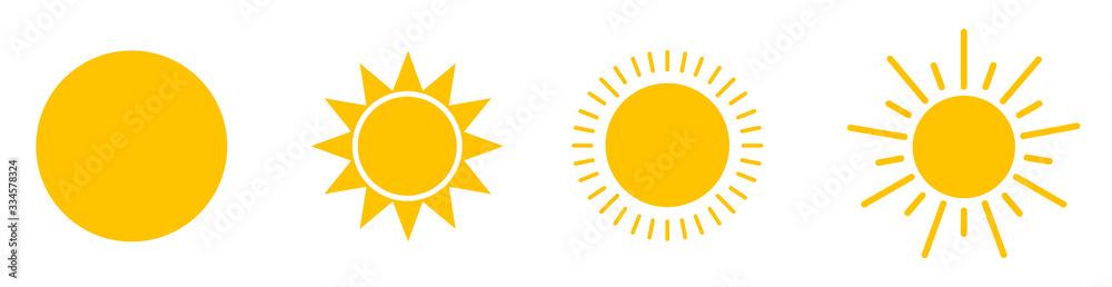 Fototapeta Solar icons. Set of sun images on a white background. Solar symbols.Vector - obraz na płótnie
