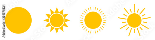 Solar icons. Set of sun images on a white background. Solar symbols.Vector