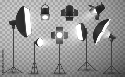 Light equipment of photo studio on transparent background, realistic vector design Canvas Print