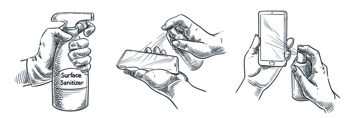 Gadget surface cleaning, sanitation, disinfection. Vector illustration. People treat smartphone with antibacterial spray