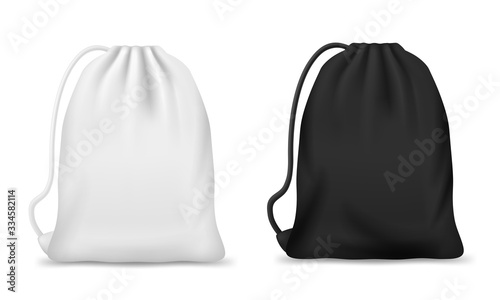 Obraz Drawstring bag, backpack or pouch vector mockups. Realistic white and black sport bags, blank canvas school knapsack or laundry sack with ropes or strings, packs for clothes, footwear, bulk products - fototapety do salonu
