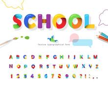 School 3d Puzzle Font. Cartoon...