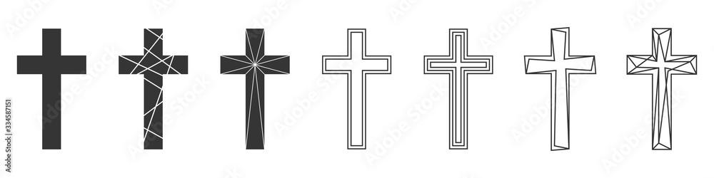Fototapeta Set of Christian Cross. Abstract vector icons.
