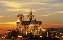The Notre Dame Cathedral At Sunset , Paris, France.