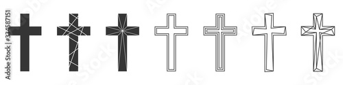 Photo Set of Christian Cross. Abstract vector icons.