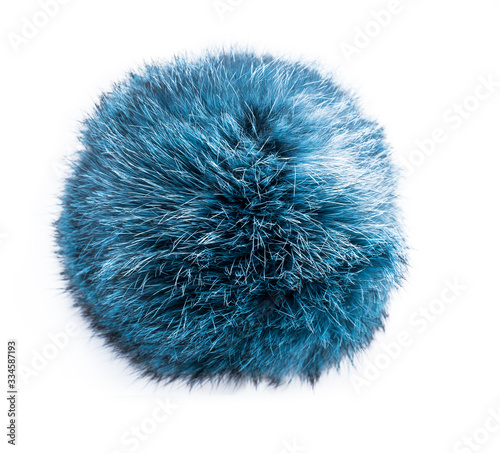 Fototapeta Natural fur on a white background. Gray-blue piece of fur. Fur on a white background. Fur texture obraz