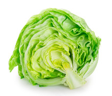 Fresh Iceberg Lettuce On White...