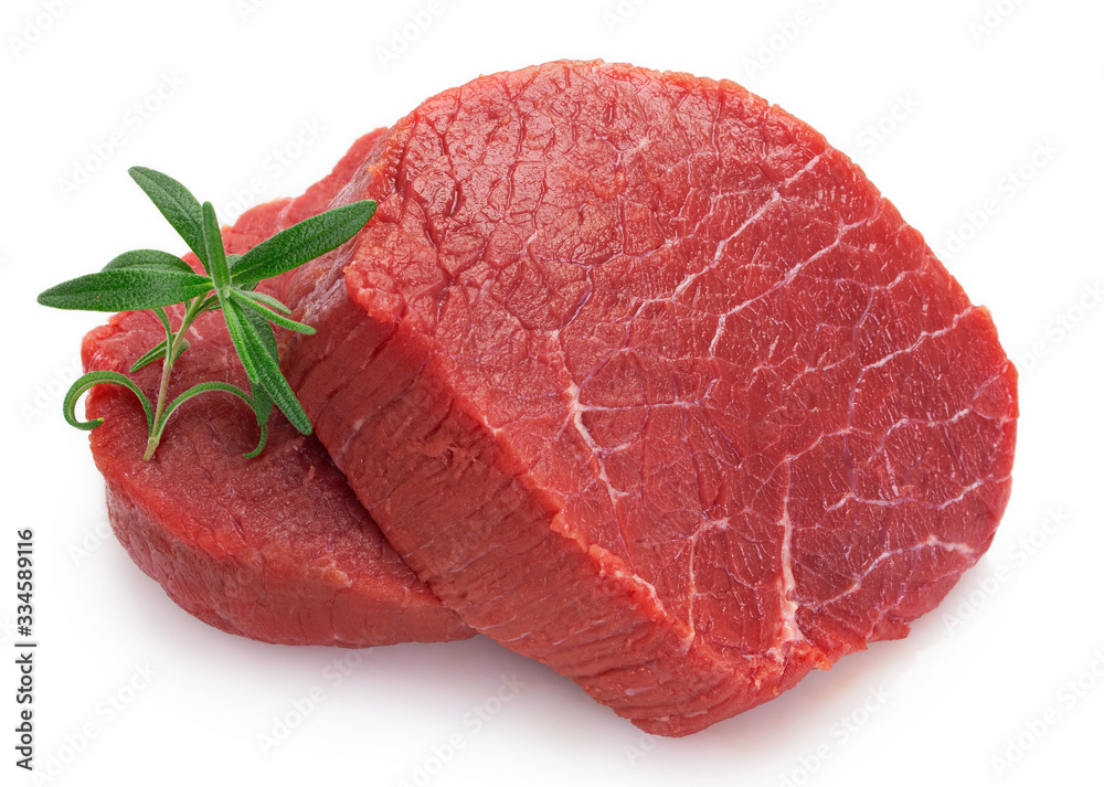 Fototapeta Raw beef meat on white background