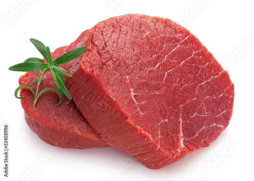 Obraz Raw beef meat on white background - fototapety do salonu