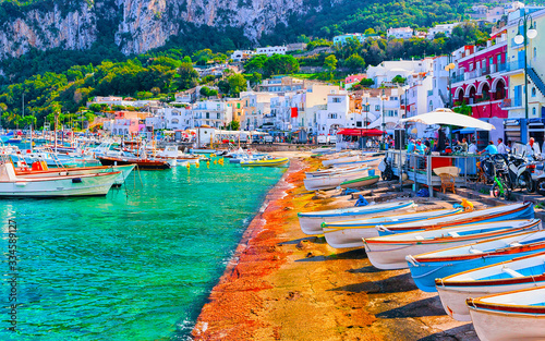 Tablou Canvas Boats at Marina Grande embankment in Capri Island Tyrrhenian sea reflex
