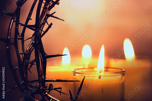 Fototapeta Crown of Thorns with candles