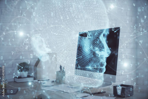 Double exposure of brain drawing and office interior background. Concept of data technology.