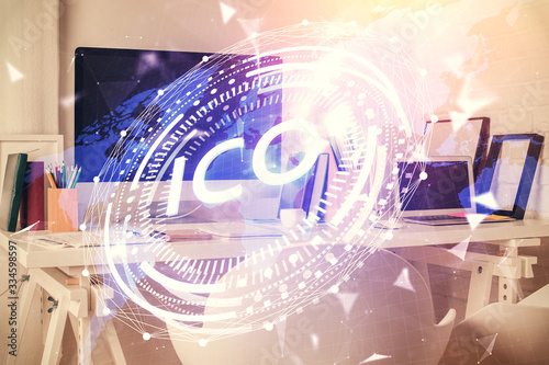 Double exposure of crypto technology theme drawing and office interior background. Concept of blockchain.