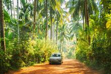 Goa, India. Car Moving On Road...