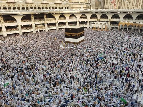 Photo MECCA, SAUDI ARABIA,  August 2019 - Muslim pilgrims from all over the world gath