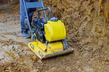 Vibratory Plate Compactor In Construction Rammer Ground Compaction Foundation For Construction Of Underground