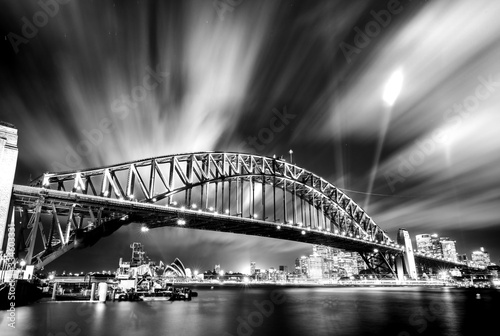 Black and white photo of Sydney Harbour Bridge at night Wallpaper Mural