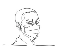 Continuous Line Drawing Of Man...