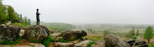 Panorama From Little Round Top Of Civil War Battlefield With Statue Of General Warren, Gettysburg, Pennsylvania.