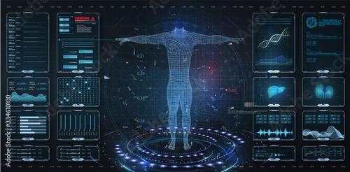 Obraz na plátne Modern medical examination HUD, UI, GUI style