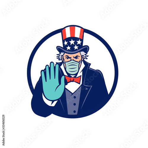 Fotografía Mascot icon illustration of American Uncle Sam, national personification of US government, wearing a surgical mask, saying stop spread of virus by  hand signal on isolated background in retro style