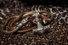 Thor's Silver Hammer Pendant On The Chain, Steel Chain Mail And Viking Helmet. Handmade. Mjolnir. Viking's Symbol.