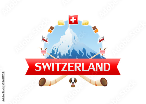 Logo of Zermatt Matterhorn surrounded with swiss cheese, chocolate, knife, fondue, alphorn and saint bernard rescue dog Canvas Print