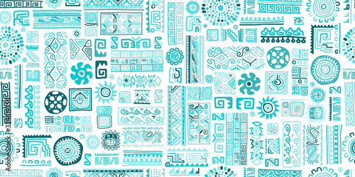 Wall mural - Ethnic handmade turquoise ornament, seamless pattern