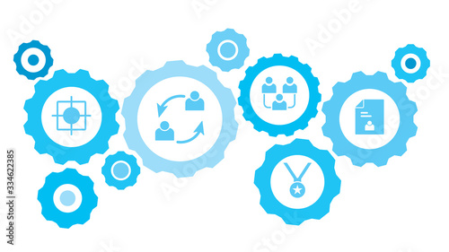 Connected gears and vector icons for logistic, service, shipping, distribution, transport, market, communicate concepts Wallpaper Mural
