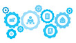Connected gears and vector icons for logistic, service, shipping, distribution, transport, market, communicate concepts. email gear blue icon set
