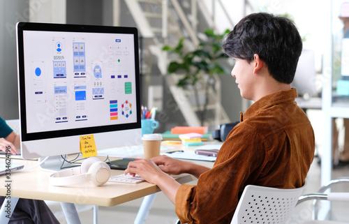 Obraz na plátně Website designer, Creative planning phone app development template layout framew